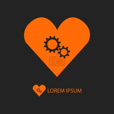 Orange heart with gear wheels on black