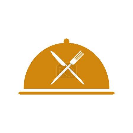 Illustration pour Icône du restaurant avec cloche orange et fourchette croisée et couteau - image libre de droit