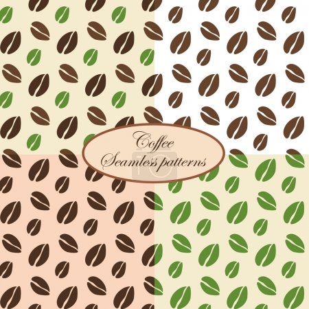 Set of four seamless coffee patterns