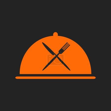 Illustration pour Icône du restaurant avec cloche orange et croisée fourchette noire et couteau - image libre de droit