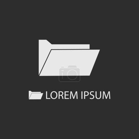 Illustration pour Dossier de l'ordinateur blanc comme logo avec espace de copie sur fond gris foncé. Stockage d'informations - image libre de droit