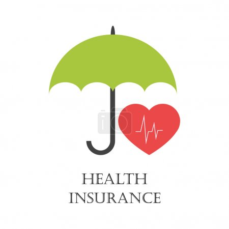 Illustration for Health insurance sign with green umbrella protecting heart as symbol of health - Royalty Free Image