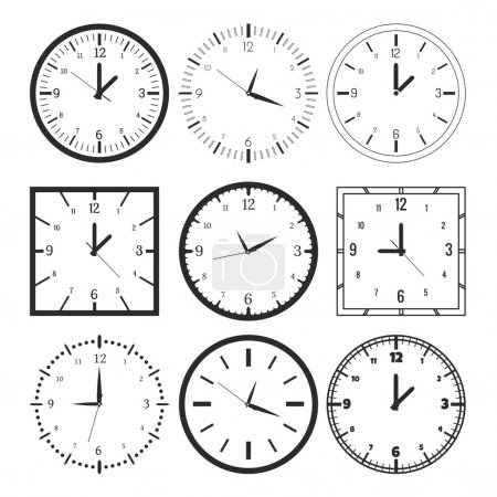 Illustration for Set of 9 digital clock. Vector illustration - Royalty Free Image