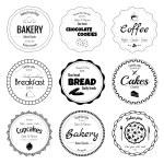 Set of 9 circle bakery labels isolated on white ba...