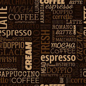 Coffee words tags Seamless pattern