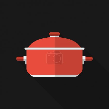 Illustration for Flat saucepan with long shadow. Vector icon, illustration. Modern design - Royalty Free Image
