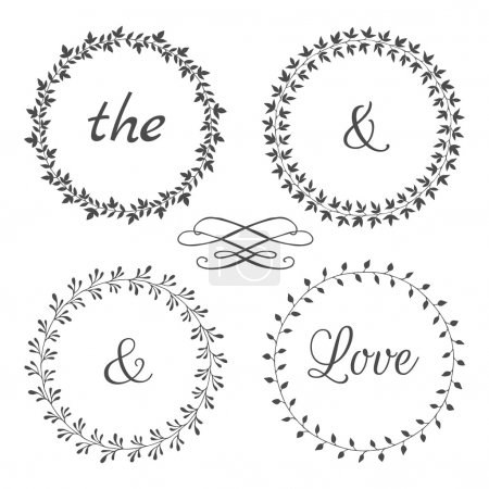 Collection of floral frames. Cute hand drawn floral circle frames