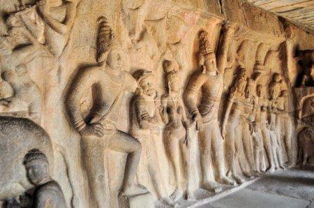 Stone inscriptions in cave Mamallapuram, India