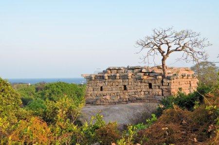 Ancient ruins at the coast of Mamallapuram, India