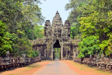 South Gate to Angkor Thom ancient city, Cambodia.