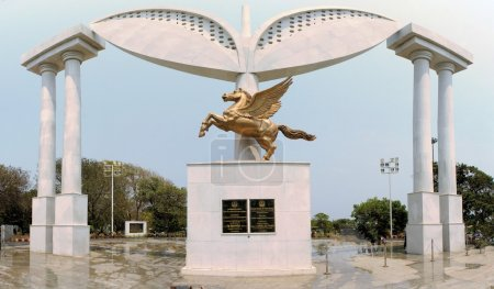 Pegasus Stela at MGR memorial, Chennai, India