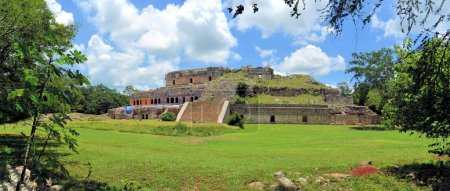 The palace in the Mayan ruins of Sayil on the Puuc...