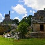 Mayan ruins of Tabna on the Puuc Route, Ruta Puuc,...