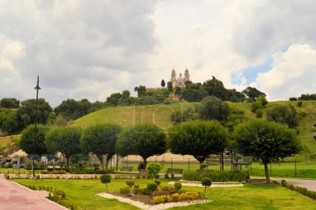 Great pyramid above Cholula with church