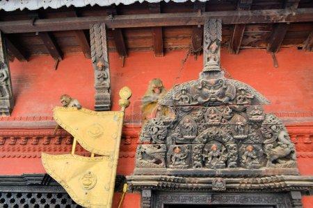 Temple door with monkeys, Kathmandu, Nepal