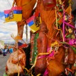 Постер, плакат: Pig adorned with fruits spirits flags and guinea pigs at La Fiesta de la Mama Negra traditional festival