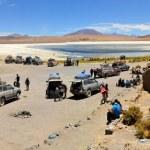Постер, плакат: Tourist Jeeps stop at Laguna Verde in Southwestern Bolivia near Uyuni