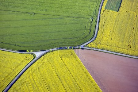 Photo for Fields and roads from above in Saxony, Germany - Royalty Free Image