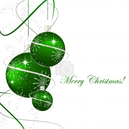 Christmas background with green christmas balls