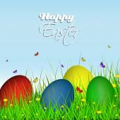 Happy easter greeting card easter eggs on grass with dandelion