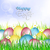 Easter card painted eggs on a grass with flowers