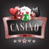 Casino vector illustration with ornate frame card symbols playing cards and dice