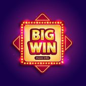 Big Win banner with glowing lamps for online casino poker roulette slot machines card games Vector illustrator