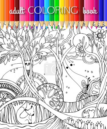 Illustration for Adult coloring page with forest, fox, owl, rabbit, butterfly, trees, flowers. Fairy forest. Book template. Book design. Vector illustration. - Royalty Free Image