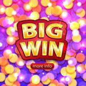 Big Win background for online casino poker roulette slot machines card games Vector illustrator