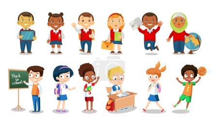 Illustration pour Ensemble de joyeux écoliers icônes plates isolées sur fond blanc. Illustration vectorielle de dessins animés d'écoliers et de filles. Groupe d'étudiants - image libre de droit
