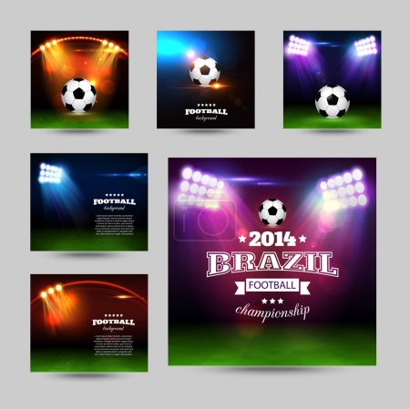 Illustration for Set of football typographic backgrounds with soccer ball, spotlights, abstract stadium and place for text. - Royalty Free Image
