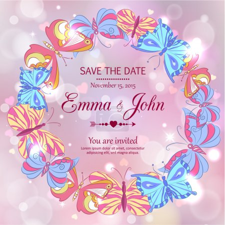 Romantic glimmered wedding invitation with hand drawn butterflies
