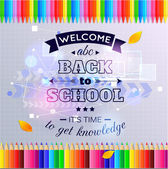Blue shining back to school background with realistic colorful pencils illustration