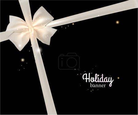 Illustration for Elegant holiday banner with photorealistic white bow and place for text on black background. Vector illustration. - Royalty Free Image
