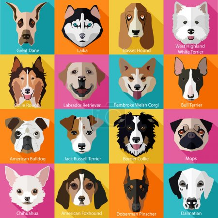Popular breeds of dogs icons