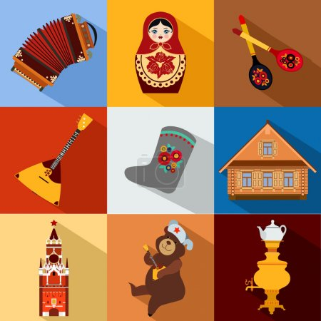 Russia travel icons