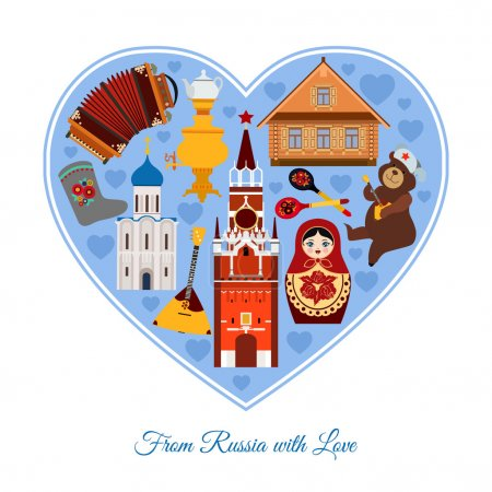 Illustration for From Russia with love. Russia travel background with place for text. Isolated heart shape with colorful flat icons, Russian national symbols for your design. Vector illustration. - Royalty Free Image