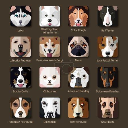 Illustration pour Ensemble de races populaires plates d'icônes de chiens. Illustration vectorielle . - image libre de droit