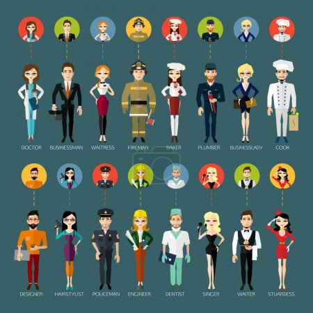 Photo for Profession people and avatars collection. Cartoon different characters and different clothes. Flat style design. Vector illustration. - Royalty Free Image