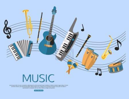 Illustration pour Fond musical avec instruments de musique. Design de style plat. Illustration vectorielle . - image libre de droit