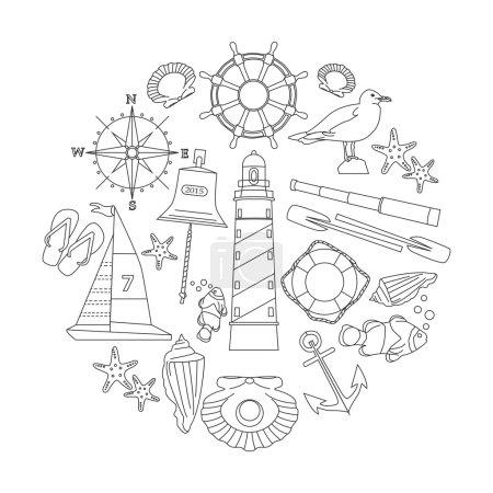 Illustration for Marine outline icons set. Vector illustration. - Royalty Free Image