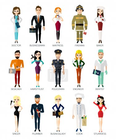 Photo for Profession people collection isolated on white background. Cartoon different characters and different clothes. Flat style design icons set for web and mobile applications. Vector illustration. - Royalty Free Image