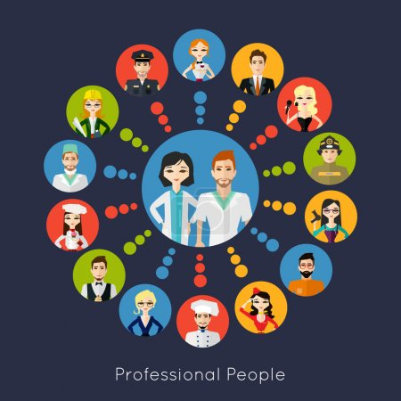 Photo for Profession people collection. Cartoon different characters and different clothes. Flat style design icons set for web and mobile applications. Vector illustration. - Royalty Free Image
