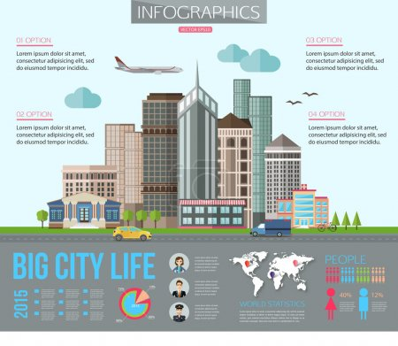 Big city life infographics