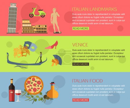 Set of Italy travel horizontal banners
