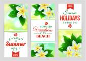 Summer banners with tropical flowers