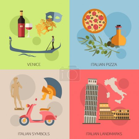 Set of Italy travel compositions