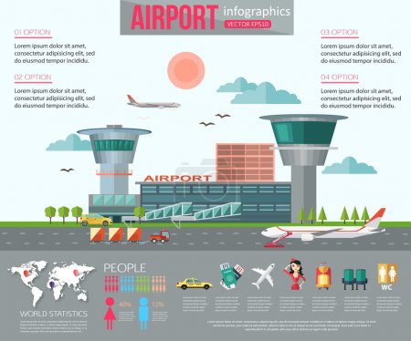 Airport infographics with place for text