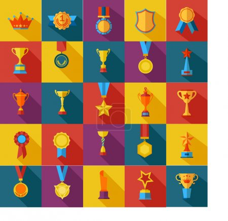 Set of flat awards icons