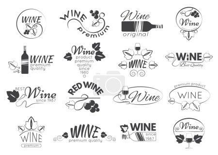 Illustration pour Ensemble d'étiquettes de vin, badges et logos pour le design. Illustration vectorielle . - image libre de droit